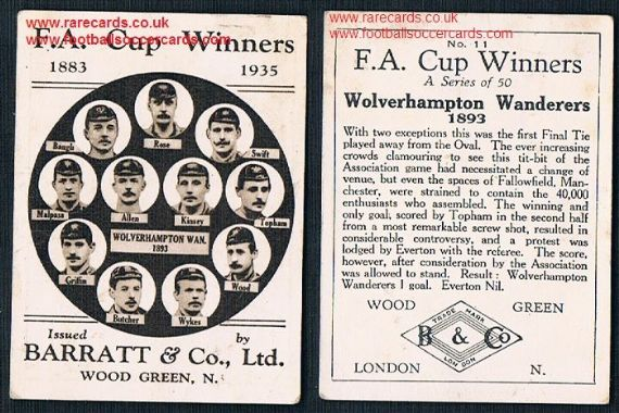 1935 Barratt F A Cup Winners 11 Wolves 1893 football card